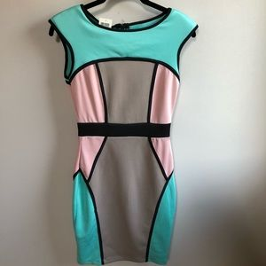 NWT Arden B. Color Block Bodycon Dress Size XS